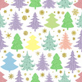 Seamless Christmas vector pattern with colorful fir-trees and sn. Owflakes on a white background Stock Photography
