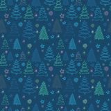 Seamless Christmas vector pattern with colorful fir-trees and st. Ars Royalty Free Stock Photos