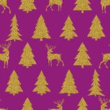 Seamless Christmas vector pattern with golden fir-trees and deer. S Stock Photography