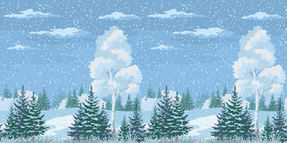 Seamless Christmas Winter Forest Landscape Stock Photo