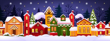 Free Seamless Christmas Winter Illustration With Decorated Houses, Snow, Town, Trees Silhouette. Stock Photography - 196342372