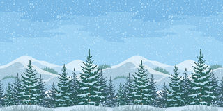 Seamless Christmas Winter Landscape Stock Photos