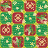 Seamless Christmas, winter or New Year pattern. Seamless (easy to repeat) Christmas, winter or New Year background with fir tree branches, cones and snowflakes ( Royalty Free Stock Photos