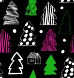 Seamless Christmas winter pattern. Decorative background with spruces, fir-trees. Holiday cartoon design. Seamless Christmas winter pattern. Decorative Stock Photo