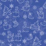 Seamless of Christmass silhouettes. Christmas seamless background of cartoon pictograms on blue: snowflakes, snowmans, fir trees, stockings Royalty Free Stock Photo