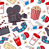 Seamless cinema attributes Royalty Free Stock Image