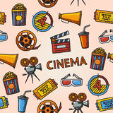 Seamless cinema handdrawn pattern. With - cinema projector, film strip, 3D glasses, clapboard, popcorn in a striped tub, cinema ticket, glass of drink Stock Photos