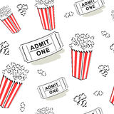 Seamless cinema pattern. Seamless pattern with popcorn and cinema entry ticket Royalty Free Stock Photo