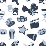 Seamless cinema stuff pattern Stock Photo