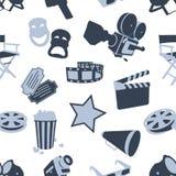 Seamless cinema stuff pattern. On white background Stock Photo