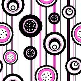 Seamless circle pattern. Circles pattern with abstract flowers Royalty Free Stock Image