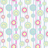 Seamless circle pattern. Circles pattern with abstract flowers Stock Photo