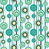 Seamless circle pattern. Circles pattern with abstract flowers Royalty Free Stock Photo