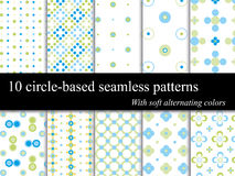 10 seamless circle patterns. 10 circle-based dotted vector seamless patterns with a soft alternating colors theme, arranged by layers with a single element and a Vector Illustration