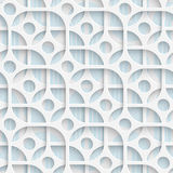 Seamless Circle and Square Design. Futuristic Tile Pattern. 3d Elegant Minimal Geometric Background. Abstract White and Blue Grid Wallpaper Vector Illustration