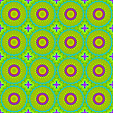 Seamless circles and diamond pattern in lemon lime green yellow purple blue Stock Photo