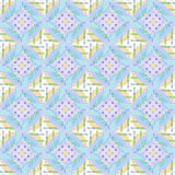Seamless circles and diamond pattern light blue purple yellow white green Royalty Free Stock Image