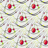 Seamless circles and ellipses pattern red green yellow with curved black lines on gray Stock Photo