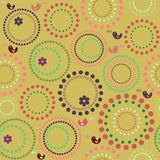 Seamless circles & happy birds. Circles in bright colors - cheerful model Stock Image