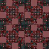 Seamless circles pattern dark green and red with brown squares Royalty Free Stock Image