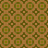 Seamless circles pattern olive green ocher brown Stock Images