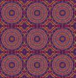 Seamless circles pattern red violet. Abstract geometric grid background, seamless ornate circle and diamond pattern in violet shades with red and green royalty free illustration