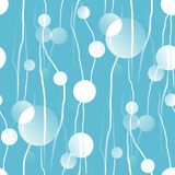 Seamless circles pattern with wiggly lines white turquoise Royalty Free Stock Photography
