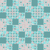 Seamless circles and squares pattern turquoise green pink Royalty Free Stock Image