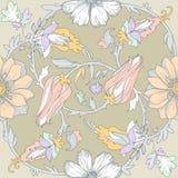 Seamless circular elegant floral pattern Royalty Free Stock Photo