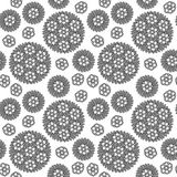 Seamless Circular Floral Pattern Grayscale Royalty Free Stock Photos