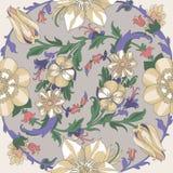 Seamless circular floral pattern Royalty Free Stock Photos