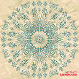 Seamless circular pattern of the branches. On the abstract background of crumpled paper royalty free illustration