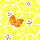 Seamless citrines. Citrines: lemon or orange slices with leaves Stock Image