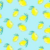 Seamless citrus pattern. Hand drawn sketched lemons print. Textile, wallpaper and craft paper design. vector illustration