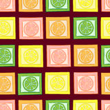Seamless citruses in squares Royalty Free Stock Photo