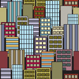 Seamless City. A seamless endless pattern of a cartoon cityscape Stock Photo