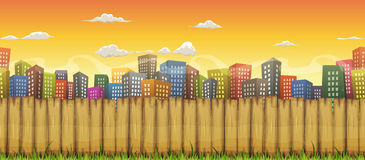 Seamless City Landscape Background Stock Photos