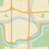 Seamless city ​​map with roads and parks Royalty Free Stock Photos