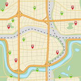 Seamless city map with roads and parks Royalty Free Stock Photo