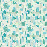 Seamless City pattern. Doodle design for cloth, paper, cards, greetings, scrapbook. Royalty Free Stock Images