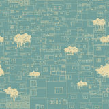 Seamless city pattern sketch Royalty Free Stock Image