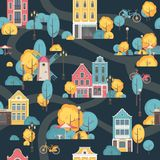 Seamless city pattern. Vector illustration seamless pattern city scene street residential building Royalty Free Stock Photos