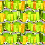 Seamless city skyscrapers cars background Royalty Free Stock Photography