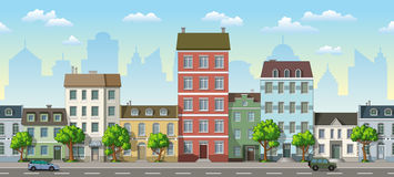 Seamless cityscape cartoon background Stock Photo