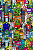 Seamless cityscape2-green roofs. Fun seamless cityscape pattern with tall buildings and skyscrappers, green roofs and solar pannels Stock Images