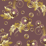 Seamless  with claret flowers. Seamless pattern with claret abstract flowers and gold leaves.(can be repeated and scaled in any size Stock Photos