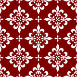 Seamless Classic Pattern [2]. A classic seamless pattern with fleurs de lys, white on red background. Useful as design element for texture, pattern, heraldry and Stock Photos