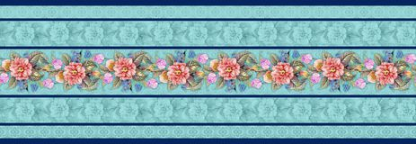 Seamless classical flower border with floral background stock illustration