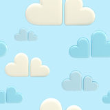 Seamless cloud background made of hearts. Seamless cloud background made of white and blue symbolic glossy hearts Royalty Free Illustration