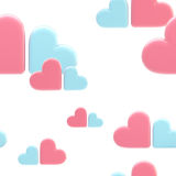 Seamless cloud background made of hearts. Seamless cloud background made of pink and blue symbolic glossy hearts Royalty Free Illustration